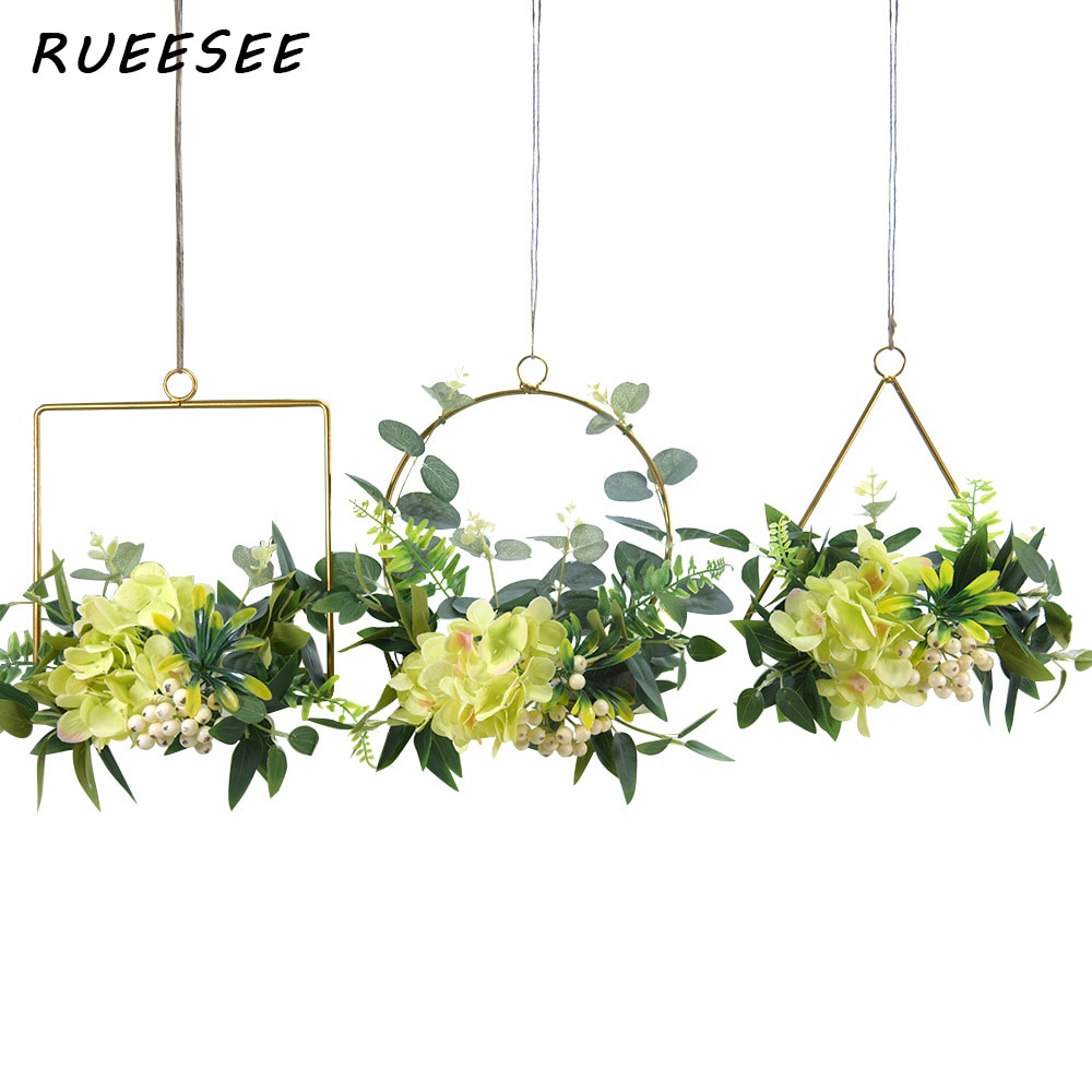 Artificial flowers hydrangea berry Nordic style creative living room dining background garland ornament metal wrought iron