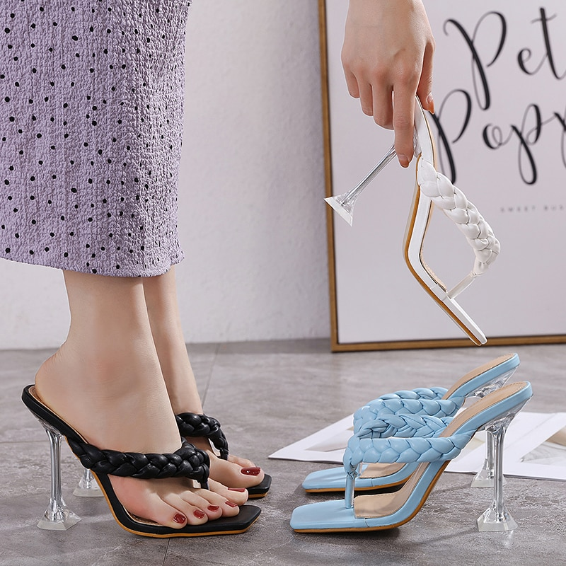 2021 summer women's fashion woven herringbone flip-flop transparent crystal wine glass with angled high-heeled slippers sandals