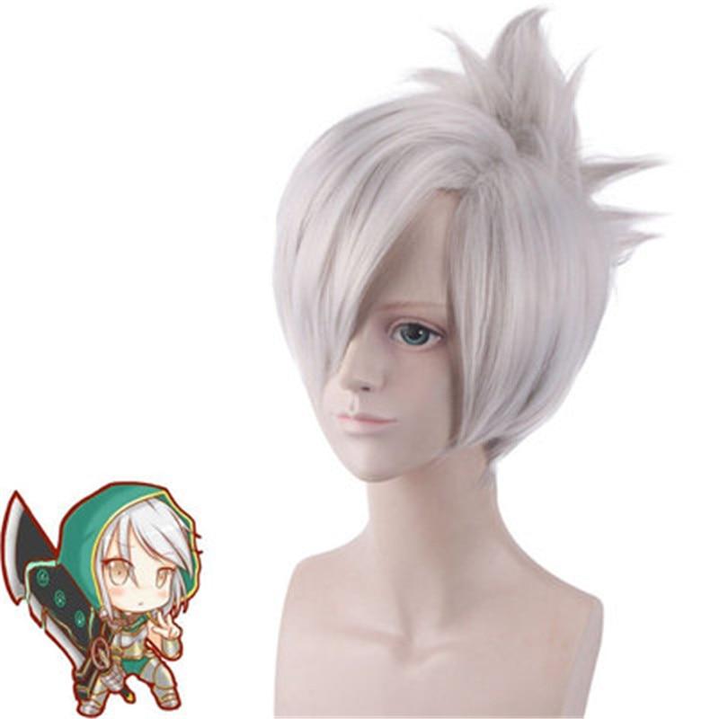 Купить с кэшбэком Cosplay  Hot Popular Game  League of Legends Blade of Exile Raven Silver Grey Wig  LOL Blade of Exile Raven Silver Grey Wig 35cm
