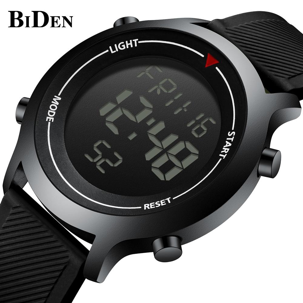 BIDEN Casual Mens Watches Top Brand Classic Design Digital Male Wristwatches Black Silicone Tape Waterproof Fashion Man Clock