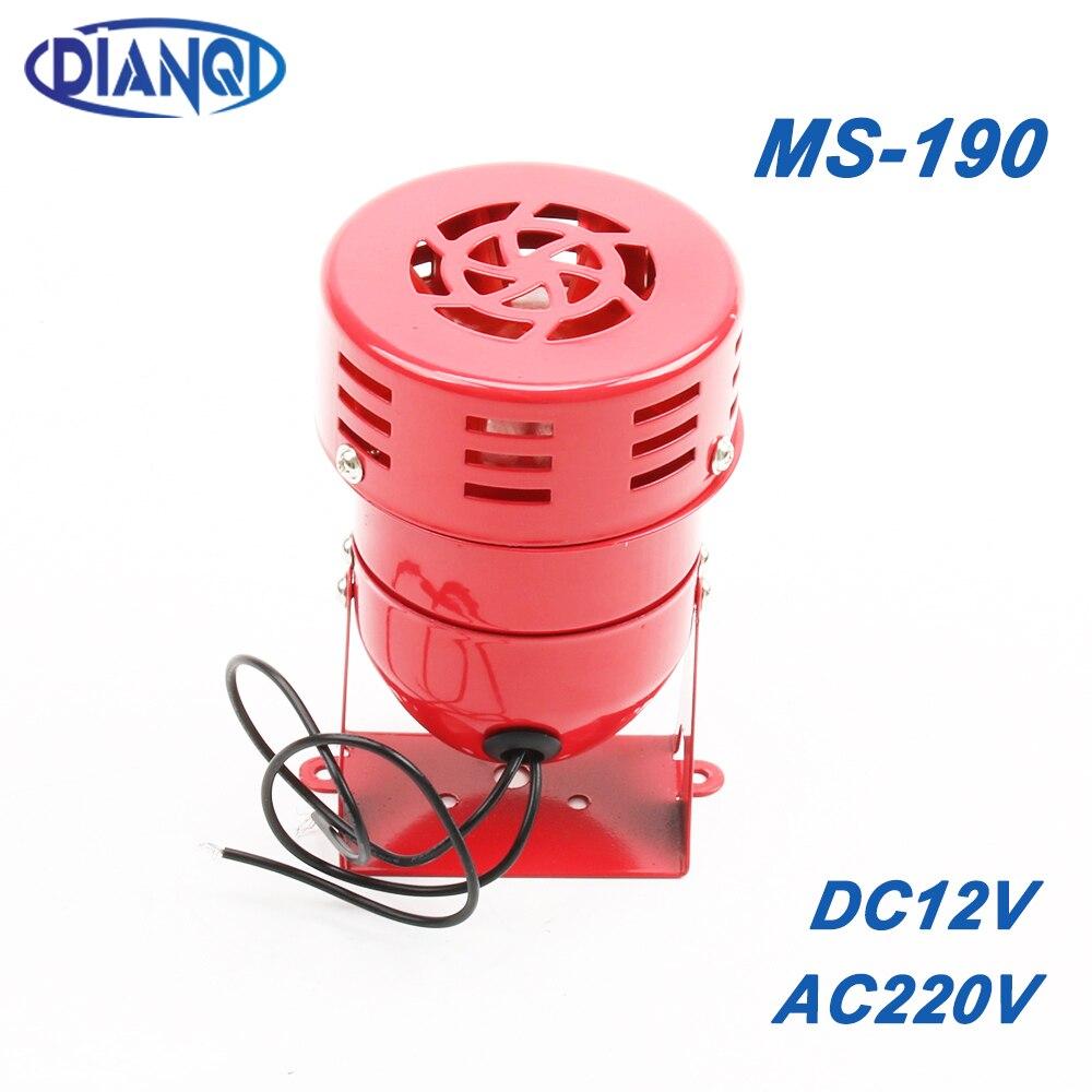 AC 220V DC 12V MS-190 aire automotriz sirena bocina coche camión Motor accionado alarma rojo Universal coche bocina para camioneta Pickup