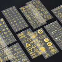 2pcsset pet golden bronzing numbers letters stickers for decorative planners scrapbook album material stationery stickers
