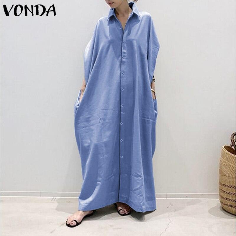 Vestido de camisa de talla grande para mujer, vestido veraniego de otoño 2020 VONDA Vintage informal largo maxi vestido de túnica vestidos con cuello en V liso para mujer