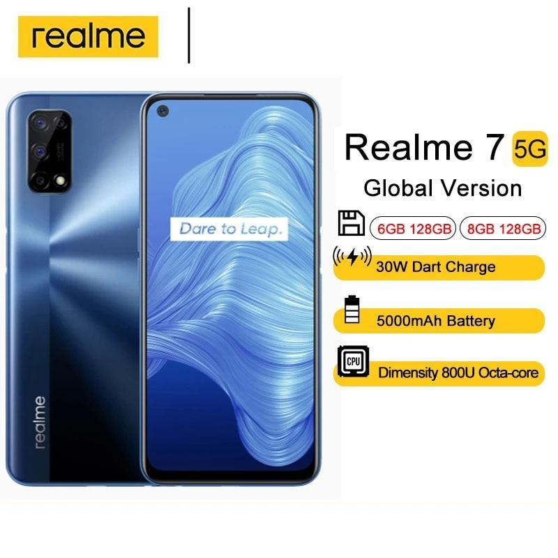 Global Version Realme 7 5G Mobile Phone 6GB 128GB 120Hz Display 48MP Camera 5000mAh 6.5 Inch Dimensity 800U CellPhones