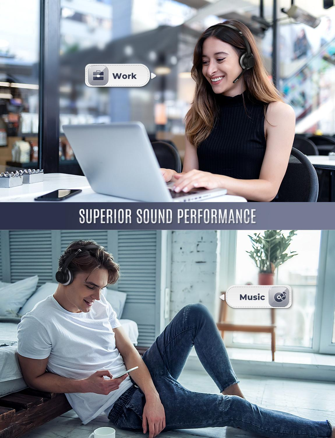 MPOW HC5 Wireless Bluetooth 5.0 Headphones with Mic CVC 8.0 Noise Cancelling Office Headset 22 Hours Life Earphones PC/Phone enlarge