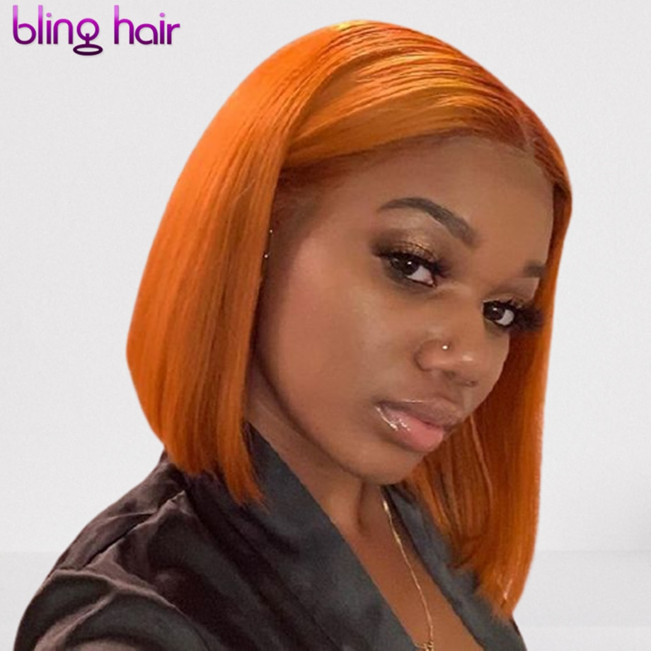 Bling Hair Orange and Blonde Color Short Bob Lace Front Human Hair Wigs Brazilian Straight Wig for Women 10 12 14 Inch Remy Hair