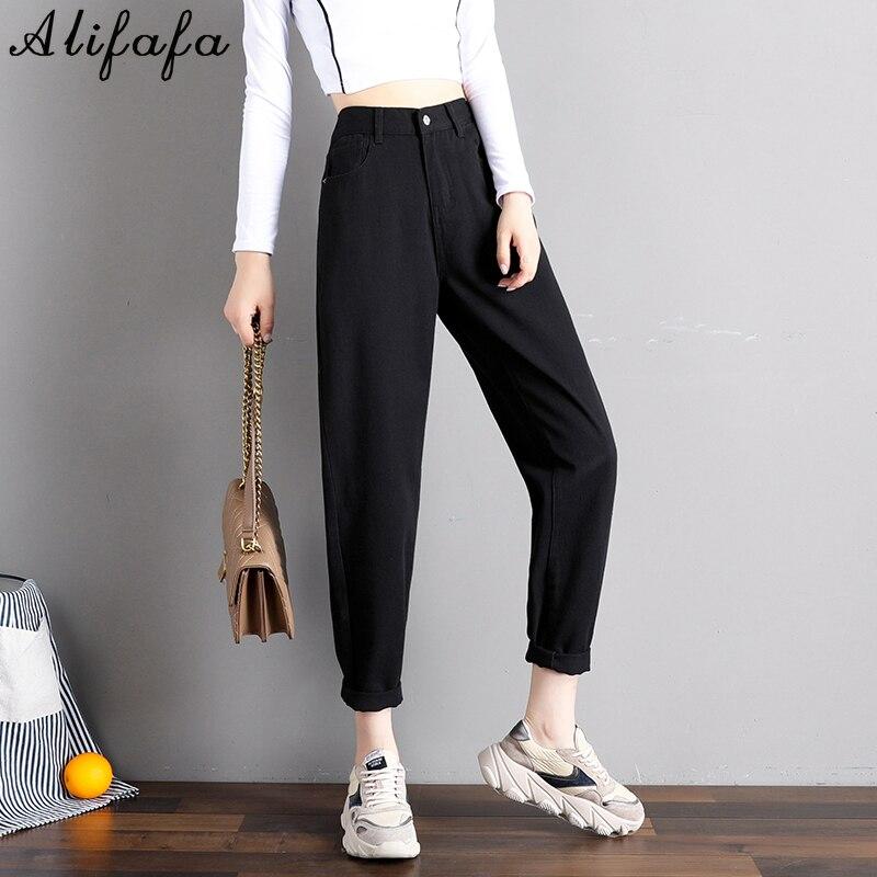 С эластичной резинкой на талии черные джинсы в Корейском стиле; 4; Цвет оранжевый; Джинсы в винтажном стиле с завышенной талией джинсы Хай-ст...
