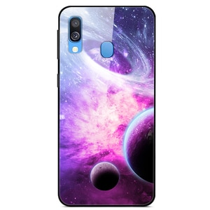 For Samsung Galaxy A20e Phone Case Tempered Glass Case Back Cover Star Sky Pattern