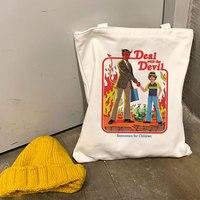 Повседневная Холщовая Сумка-тоут в стиле Харадзюку, женская сумочка на плечо с принтом дьявола смерти, большой вместимости, модные многораз...
