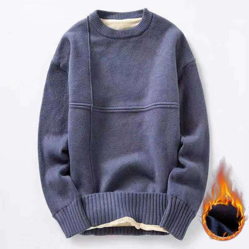 Хлопчатобумажные Трикотажные мужские свитера длиной до бедра с 2020 осень-зима, модные однотонные шерстяные пуловеры с подкладкой мужские с ...