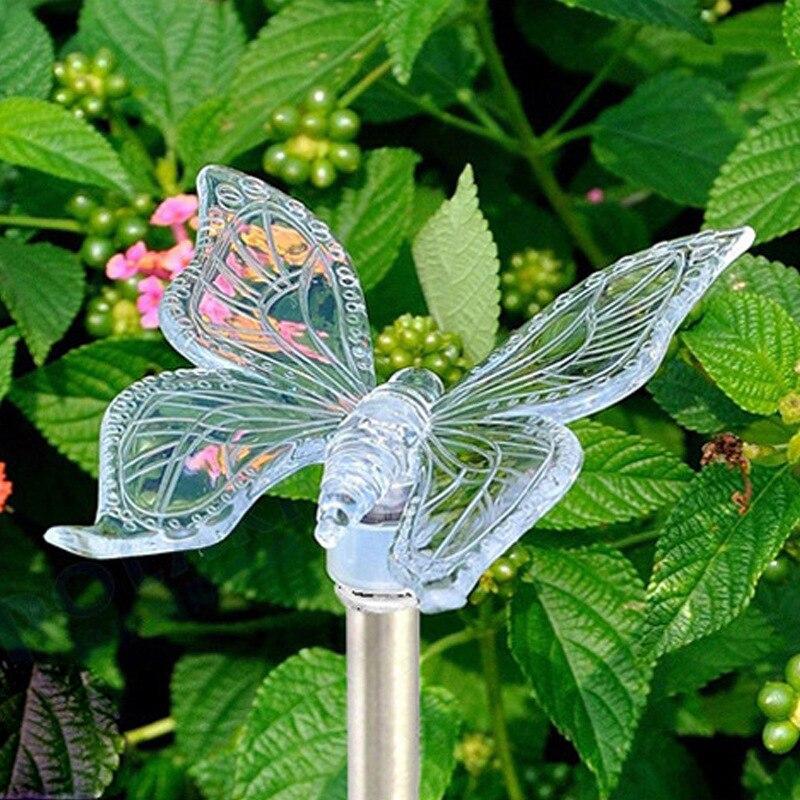 Chiclits, luz Solar LED de jardín que cambia de Color, Libélula impermeable para exteriores/mariposa/pájaro, lámpara de césped para decoración de caminos de jardín