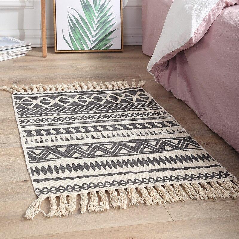 60x90cm fashion Bohemian Area Rug Cotton Linen Hand Woven Geometric Tassel Home Carpet Soft Table Runner Door Mat Home Decorate