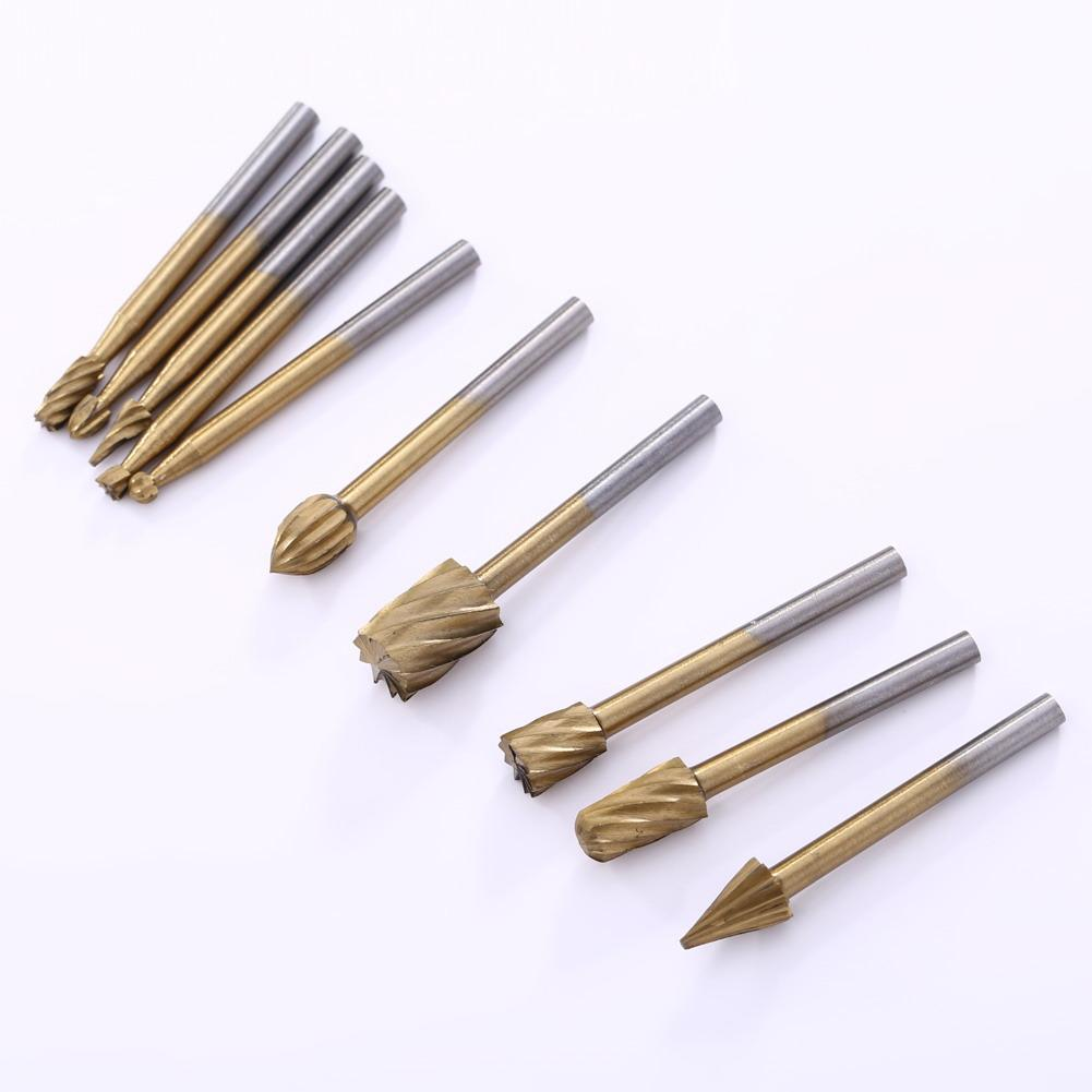 10 sztuk/zestaw Cutter HSS Titanium Dremel Routing obrotowe narzędzie do frezowania szlifowanie bity Burr dla Dremel grawerowanie drewna...