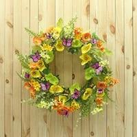 Couronne murale de 18 pouces  fausse fleur  anneau pour porte suspendue  decoration de maison  fournitures de fete  decoration de jardin