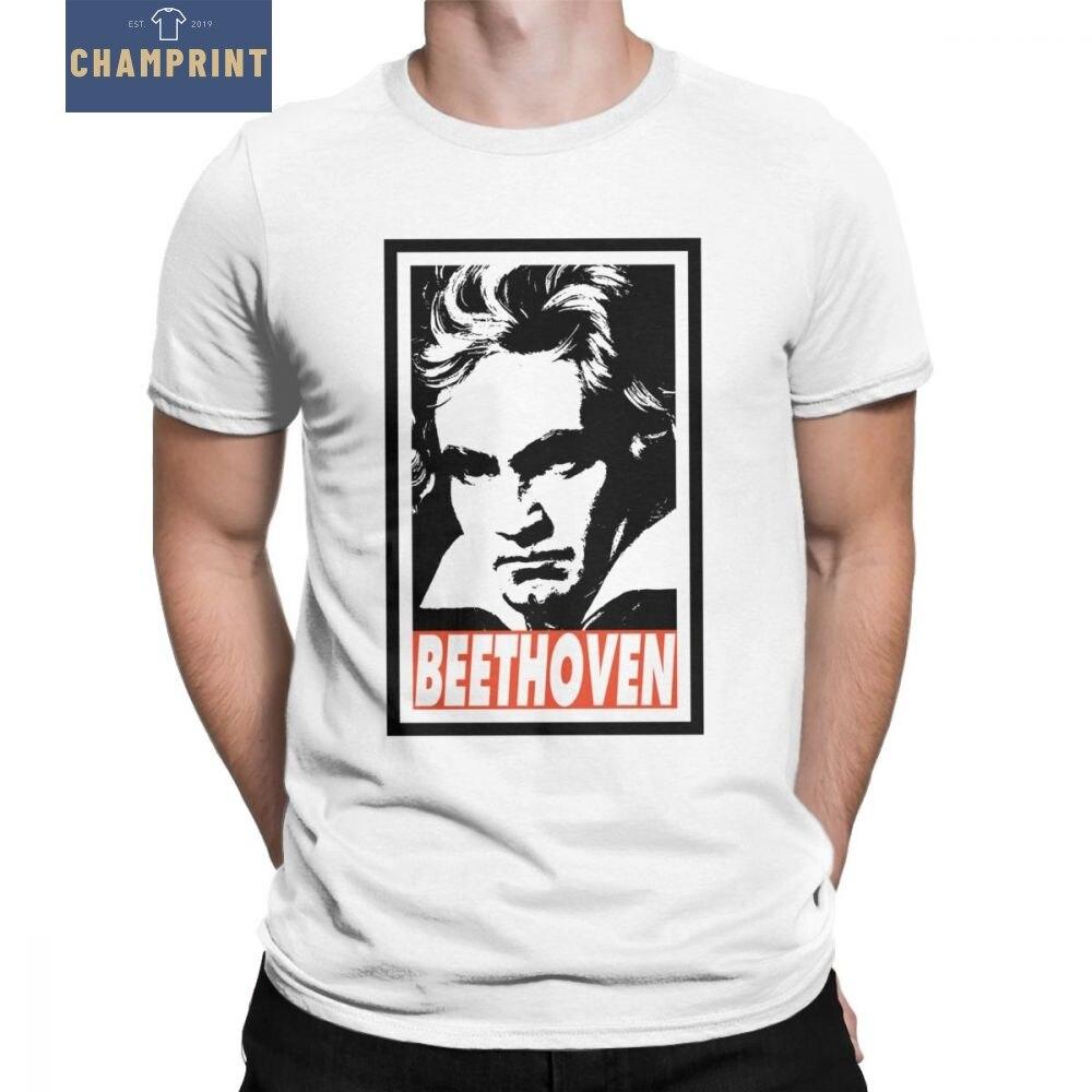 Los hombres T camisas Beethoven Tops estampados Ludwig Van Beethoven Compositor Clásico...