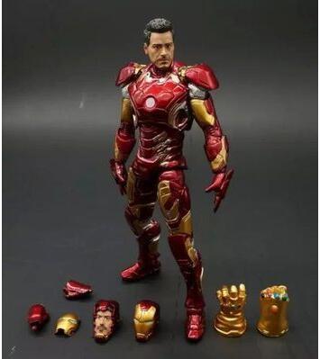 Marvel selecciona hierro Mark XLIII MK43 armadura con Guantelete del Infinito PVC figura de acción de juguete de modelos coleccionables