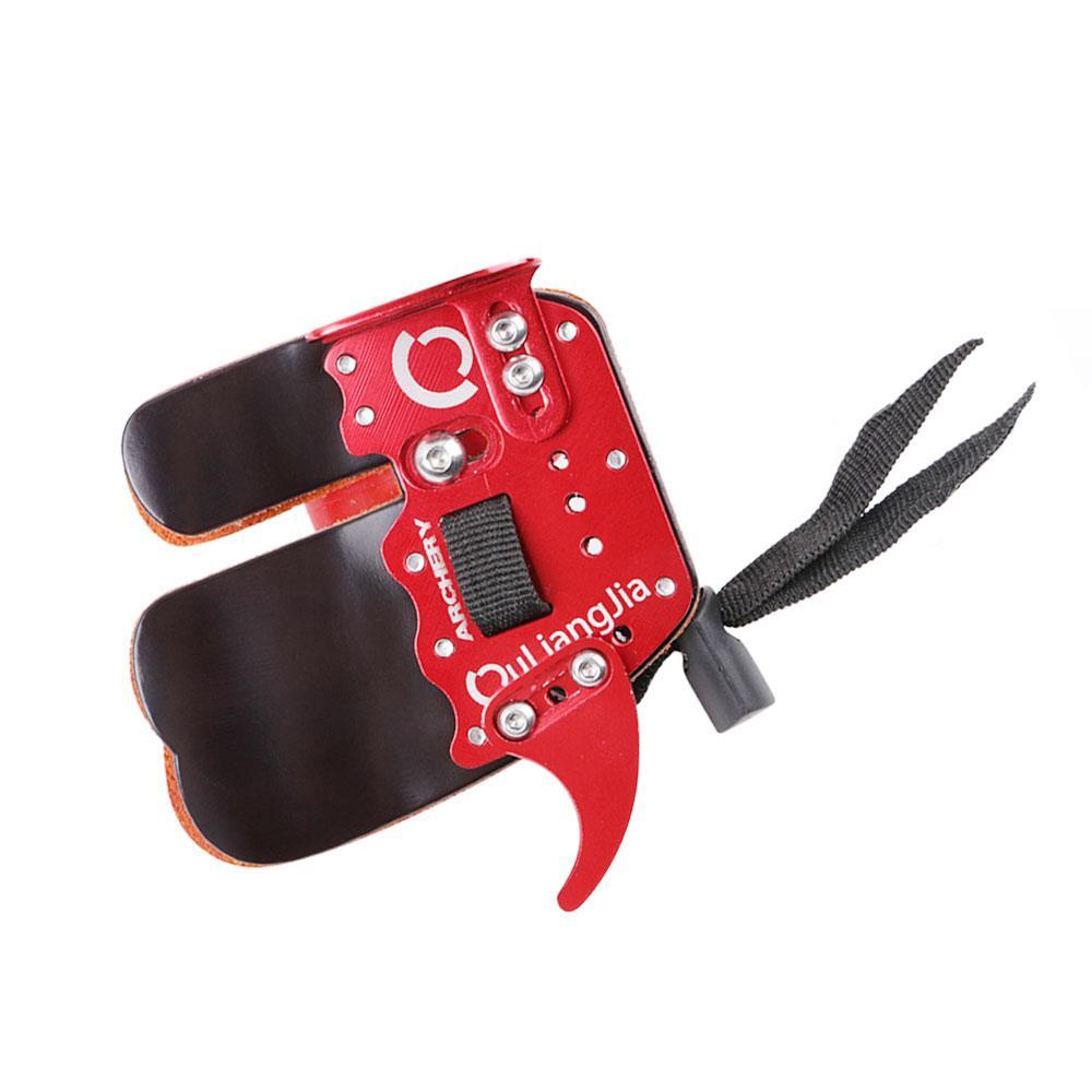 Guante de arquería arco flecha dedo herramientas tiro negro rojo cuero dispositivo para exteriores guantes con lazo para principiantes