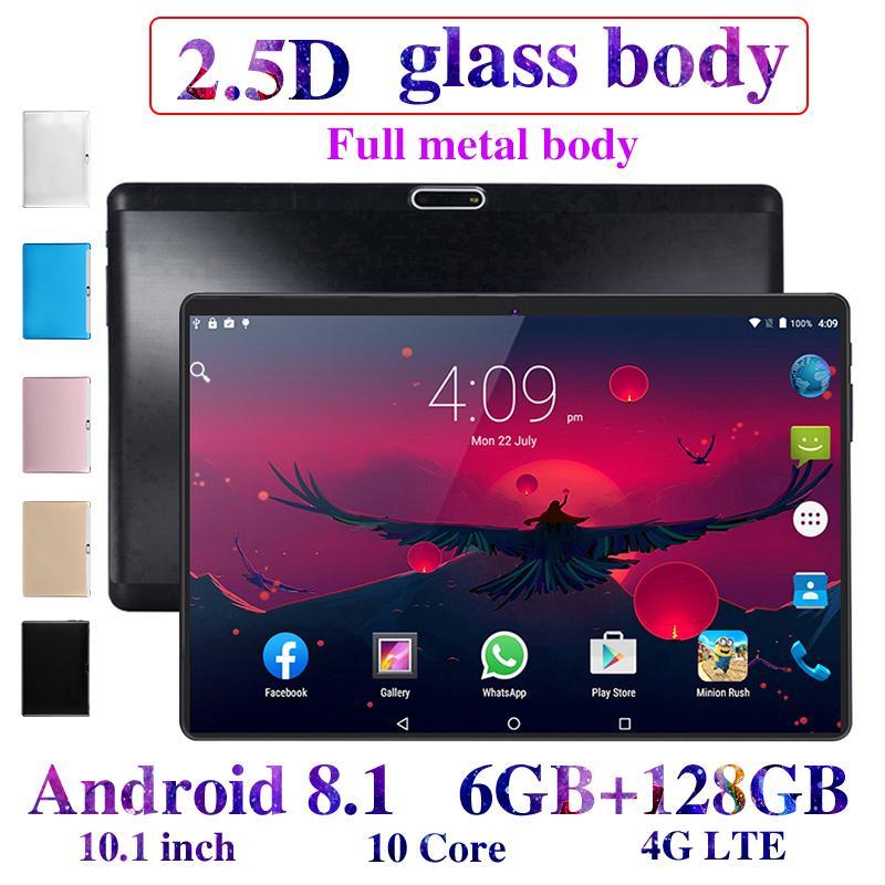 2020 חדש 10.1 אינץ 6G + 128GB Tablet Pc אנדרואיד 8.0 Google Play 4G שיחת טבליות WiFi GPS 2.5D 1280x800 מזג זכוכית ילדים Tablet