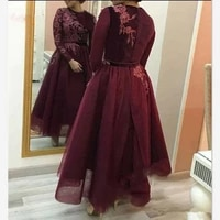 burgundy tulle a line evening dresses 2020 prom gowns long sleeves abaya arabic women lace appliques ankle length prom dresses