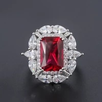 funmode charm ring red green cubic zircon wedding party ring for women female adjustable ring anillos mujer wholesale fr57