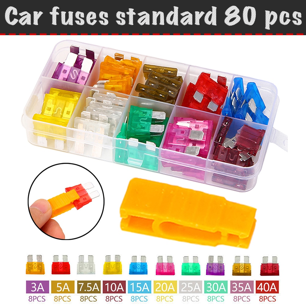 80 pcs/set, flag fuse automotive fuse standard (3A, 5A, 7.5a, 10A, 15A, 20A, 25A, 30A, 35A, 40A)