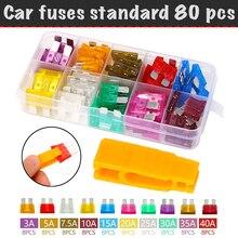 80 pcs/set, flag fuse automotive fuse standard (3A, 5A, 7.5a, 10A, 15A, 20A, 25A, 30A, 35A, 40A)