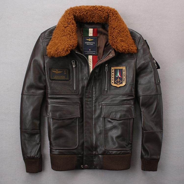 2020 chaqueta piloto A2 Tom Cruise pistola de aire de la fuerza de la vaca abrigos de 100% Real de lana de moda Multi-etiqueta de piel de oveja chaquetas de abrigo M-XXL