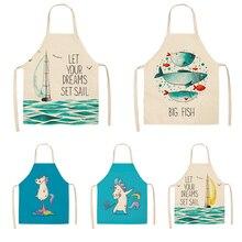 Parent-child Kitchen Apron Sailboat Unicorn Fish Print Sleeveless Cotton Linen Aprons for Kids Men Women Home Cleaning Tools