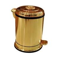 luxury golden pedal metal trash can upscale hotel villa kitchen living room bathroom covered garbage storage bucket dustbin