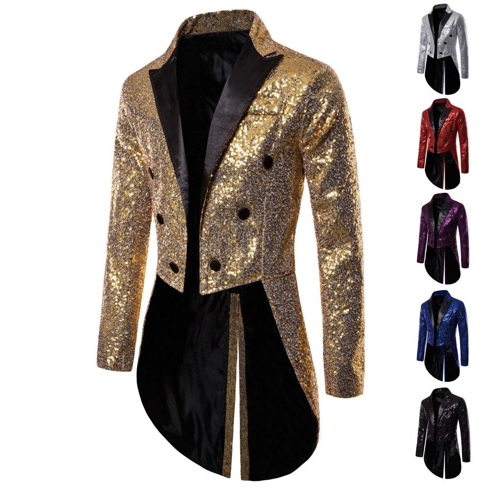 Shiny Gold Sequin Glitter Embellished Blazer Jacket Men Nightclub Prom Suit Blazer Costume Homme Singers Stage Clothes shiny gold sequin glitter embellished blazer jacket men nightclub prom suit blazer men costume homme stage clothes for singers