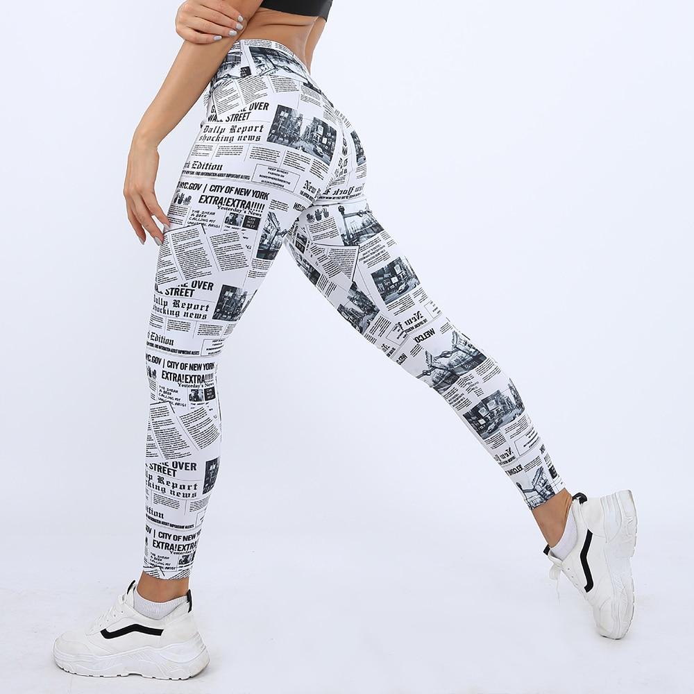 AliExpress - GYMQUASAR Newspaper Women Seamless Yoga Pants Push Up Leggings Fitness Gym Sport Running Yoga High Waist Energy Workout Leggings