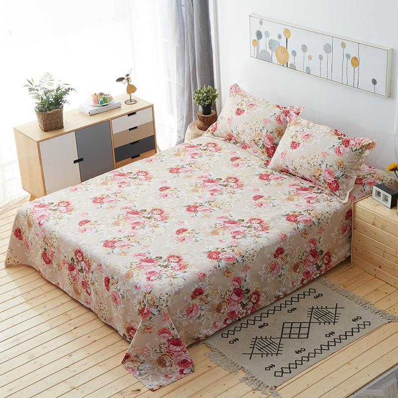 سوبر لينة ورقة مسطحة 100% ملاءات القطن التوأم كامل الملكة حجم طقم ملاءة سرير دراب دي مضاءة كلية النوم sabanas de algodon