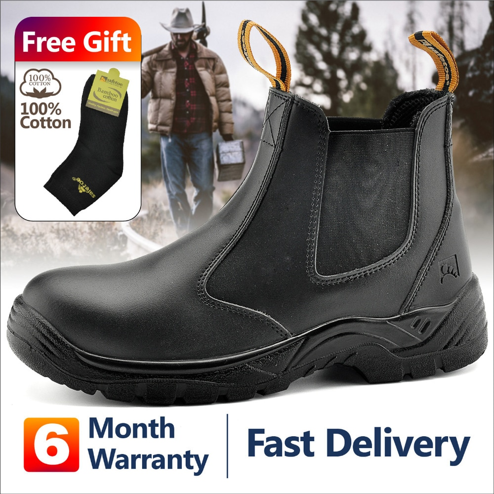 Safetoe S3 Safety Shoes With Steel Toe Cap,Light Weight Breathable Work Boots Waterproof Leather For