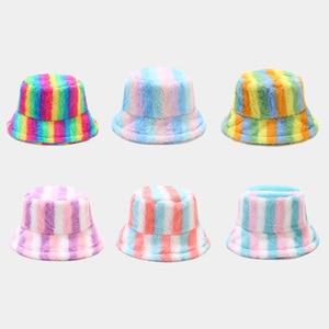 2021 New Autumn Winter Hats for Women rainbow bucket hat outdoor keep warm  panama  Women Hat