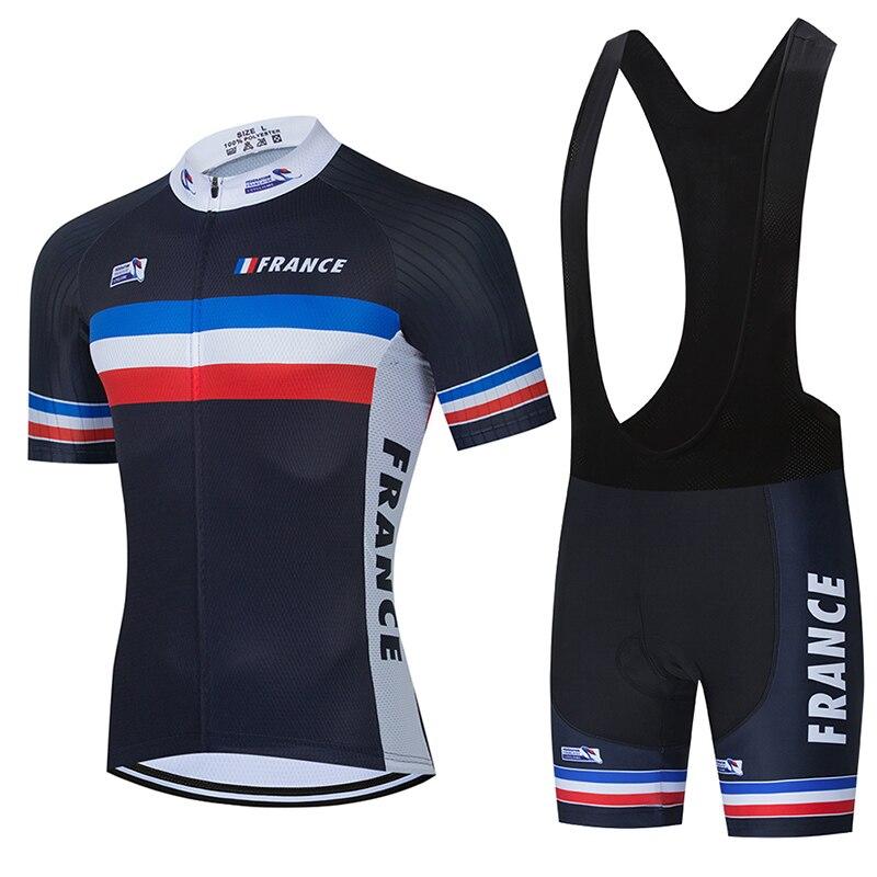 Conjunto de Ropa de Ciclismo del equipo francés para hombre, Jersey de...