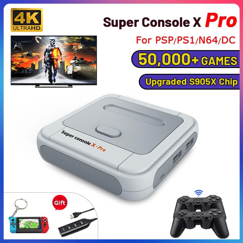 ريترو واي فاي سوبر وحدة التحكم X برو 4K HD TV لعبة فيديو لوحات المفاتيح ل PS1/PSP/N64/تيار مستمر مع 50000 + ألعاب مع 2.4G وحدات تحكم لاسلكية