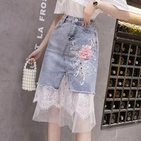 high waist women denim skirts flower patches feminino summer skirts ruffles asymmetrical elegant mesh patch midi skirt