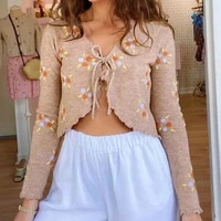 new women long sleeve knitted cardigan floral embroidery lace up crop tops summer thin outwear elegant lovely students chic top