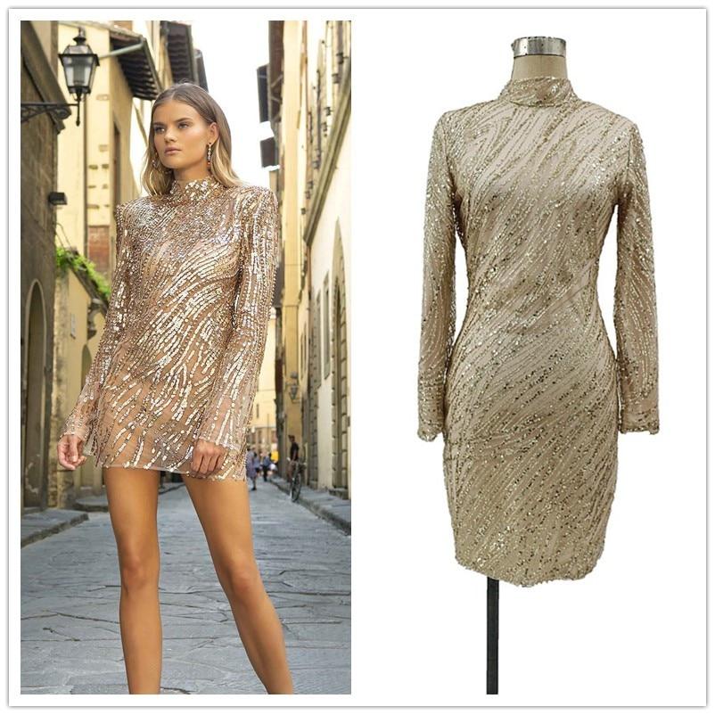 فستان كوكتيل مثير مع ترتر ذهبي ، ظهر مفتوح ، قصير ، أكمام طويلة ، ثوب حفلة ، YSAN501