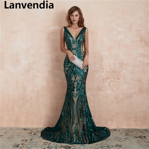 Lanvendia Sexy V-Neck Sleeveless Green Mermaid Evening Gowns Elegant Sequin Homecoming Dresses for Teen