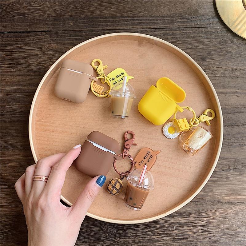 Funda protectora de silicona para auriculares Airpods 2 con colgante de burbujas de té y cerveza para Apple Airpods 1 2 Funda Etui