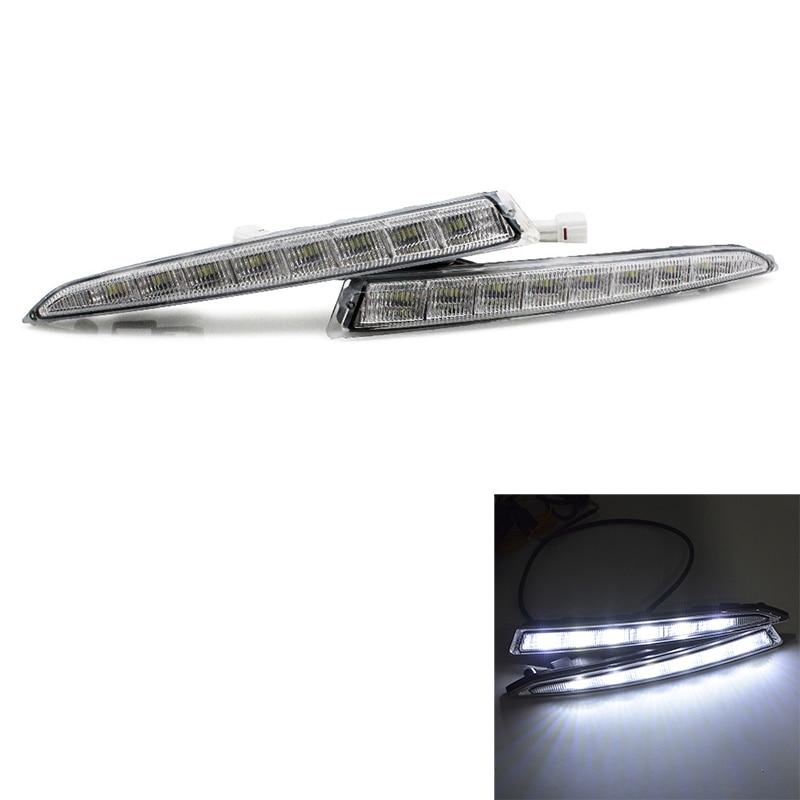 Car Led Daytime Running Light Drl Daylight Led Car for Ford Kuga Escape 2012-2015 with Fog Lamp(White)