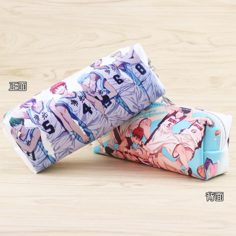 Anime Kuroko no cesta de cuero PU lápiz bolsa Kuroko Tetsuya cremallera bolsa de cosméticos bolsa de maquillaje de viaje