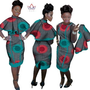 Женское платье-Женский комплект 2 шт. в африканском стиле с топом, офисное платье большого размера, модель WY978 на осень, 2019