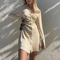 women shirt mini dress single breasted turn down collar long sleeve summer sun proof clothing 2021 outfits hollow out dress boho