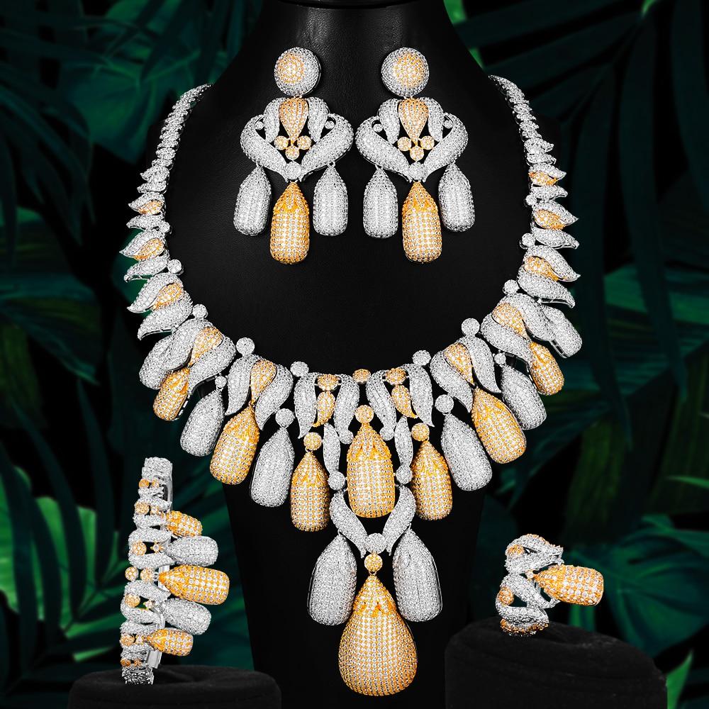 GODKI-طقم مجوهرات زفاف نسائي ، طقم مجوهرات فاخر ، مقاس كبير ، طقم مجوهرات أفريقي ، زركونيا مكعب ، كريستال تشيكوسلوفاكيا ، دبي ، هندي ، دبي ، هداي...