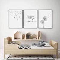 Affiche nordique noir et blanc peinture pissenlit mur Art minimaliste toile affiche moderne mur photo pour salon maison deco