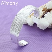 aimarry 925 sterling silver bracelet charm multi line opening bangle for woman party wedding engagement gift fashion jewelry