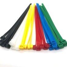 8x200mm assortiment de attaches de câble en nylon à fermeture automatique en plastique noir
