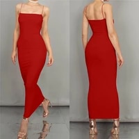 women slim tight solid color casual sleeveless backless sexy long dress party sling summer maxi dress black bodycon dress y2k